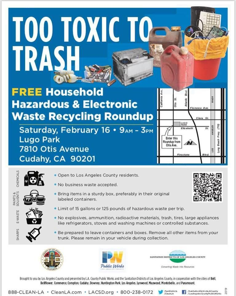 Join us tomorrow morning at 9AM for this #free household hazardous and electronic waste recycling roundup! For more info, visit:https://buff.ly/2DEMdbX  #FirstDistrict