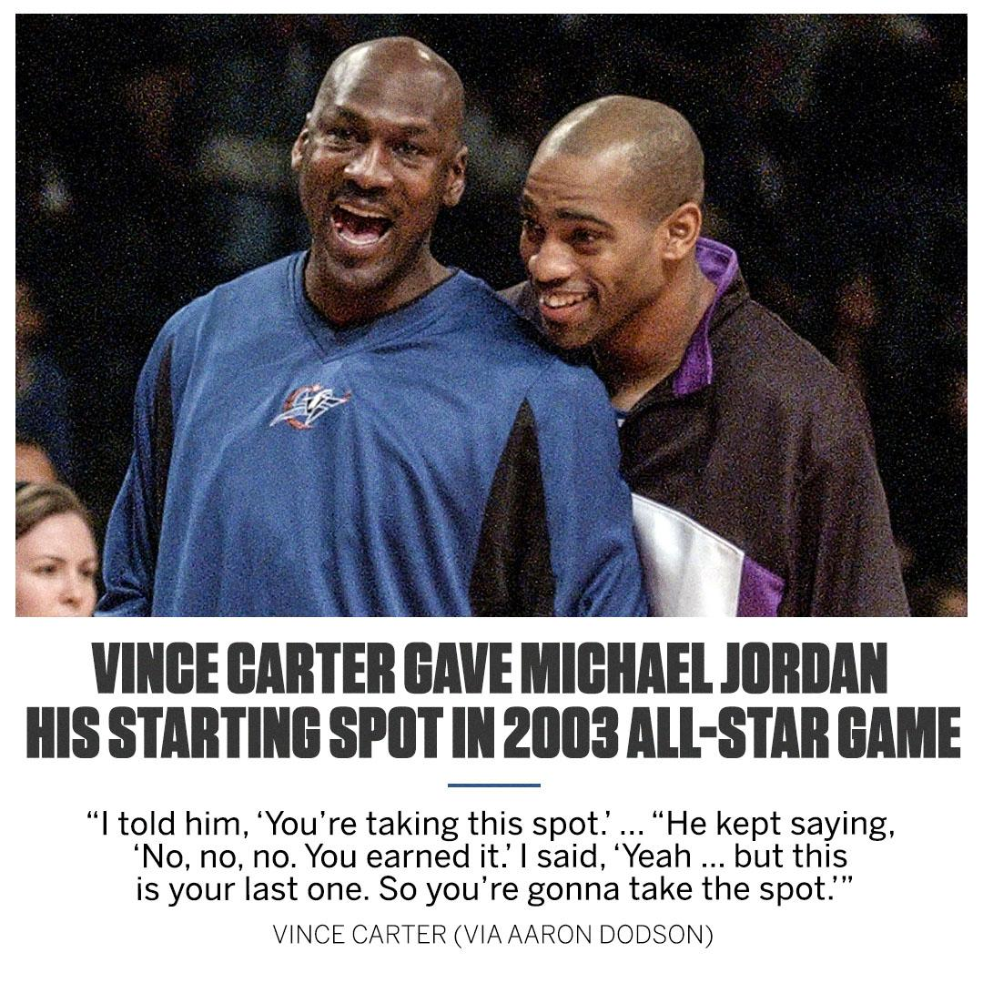 Vince Carter paid tribute to Michael Jordan in a big way.   Will someone do the same for D-Wade or Dirk this year? https://theundefeated.com/features/vince-carter-michael-jordan-nba-all-star-2003/?sf207854577=1…
