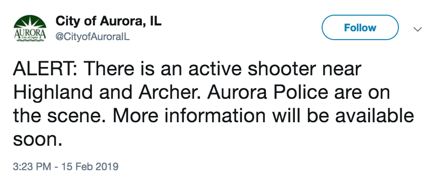 DEVELOPING: Police are responding to an active shooter situation in Aurora, Illinois, the city says.  https://t.co/ecmzXrWebL
