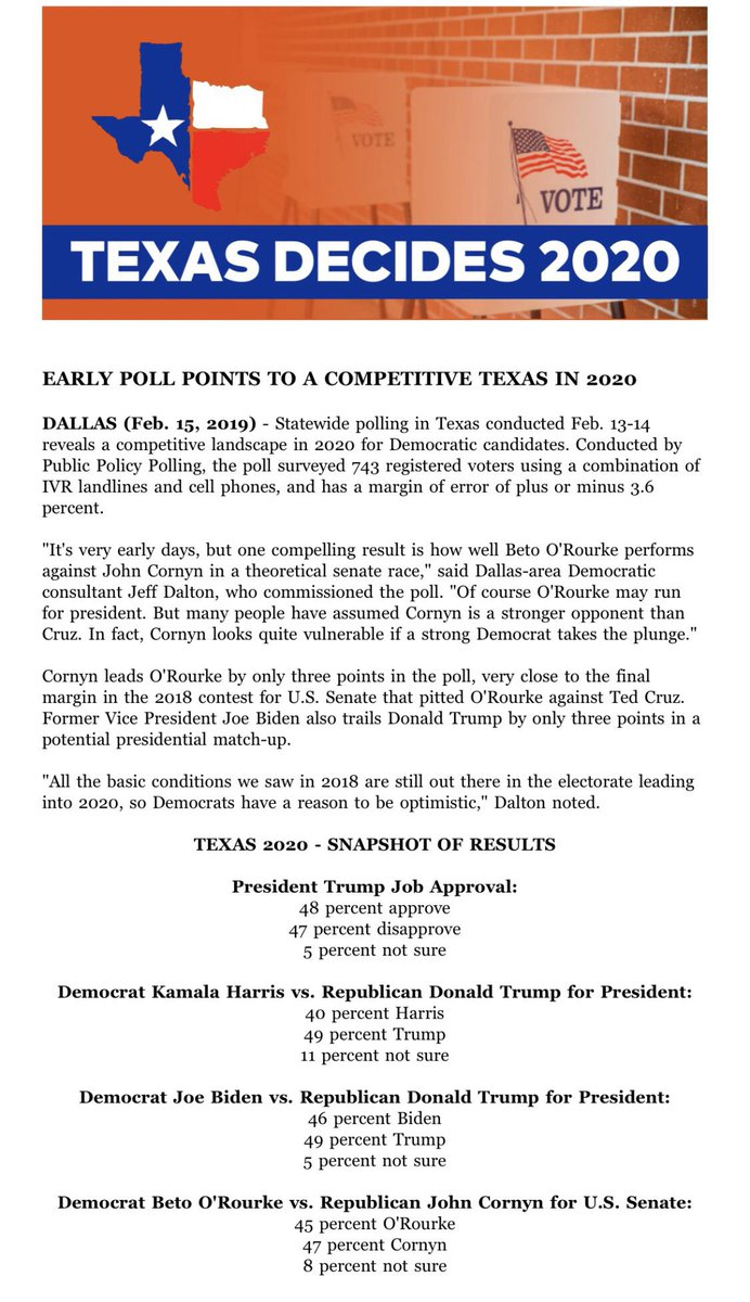 .@ppppolls survey commissioned by Dallas Democratic consultant Jeff Dalton: - @JohnCornyn: 47% - @BetoORourke: 45% - Not sure: 8% #txsen <br>http://pic.twitter.com/OlZHU150ED