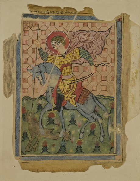 St. Sargis Day ❤️ Saint Sargis the Warrior is revered as a martyr and military saint in the Armenian Apostolic Church. He is the symbol of love in #Armenian tradition.   Gospel #Van , XIV c.  @GalleryArmenia
