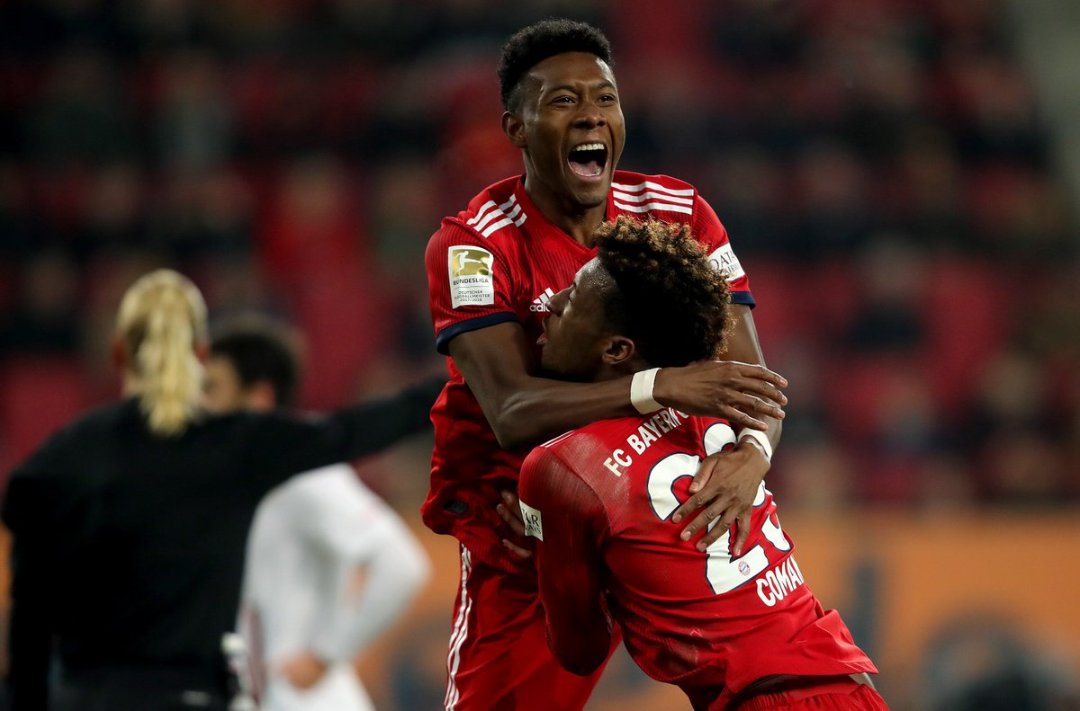 Kingsley #Coman + @David_Alaba = ⚽️⚽️⚽️  Der King 👑 und #Alaboom on 🔥🔥🔥  #FCAFCB 2:3