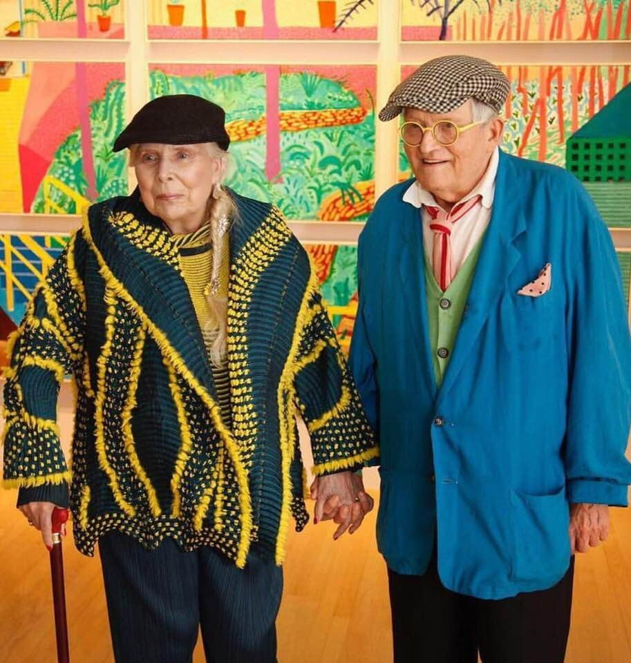 This recent image of Joni Mitchell (still recovering from a 2015 aneurysm) and her buddy David Hockney at @LALOUVER makes me very happy.