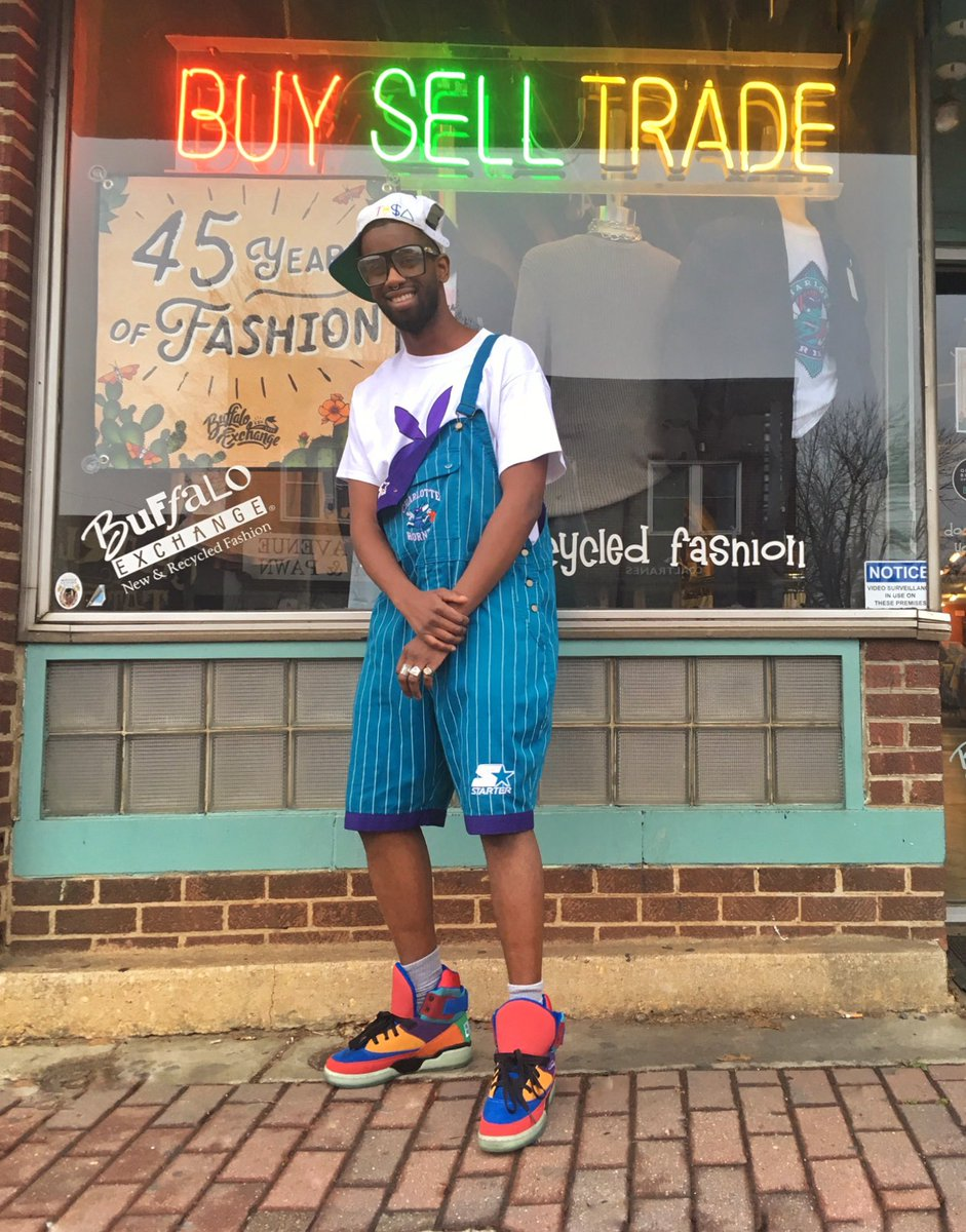 It's #NBAAllStarWeekend here in Charlotte! Whether you're repping #TeamGiannis or #TeamLebron, find retro fits perfect for sitting courtside at Buffalo Exchange #Charlotte. #AllStarWeekend #CharlotteHornets #Hornets #Retro #Vintage #VintageStarter