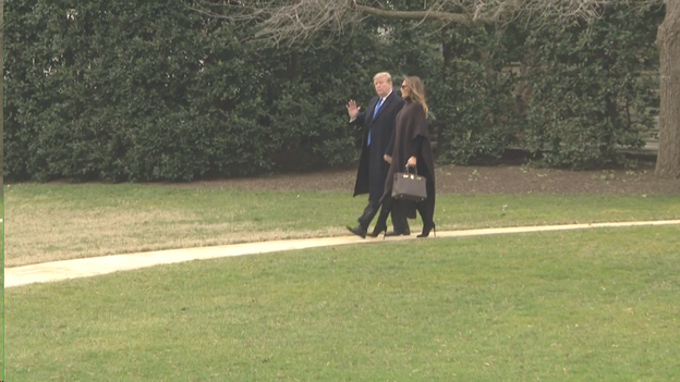 Pres and Mrs Trump walking path from Oval Office to board Marine One as they head to their Mar-a-Lago resort in Palm Beach for Presidents' Day weekend.