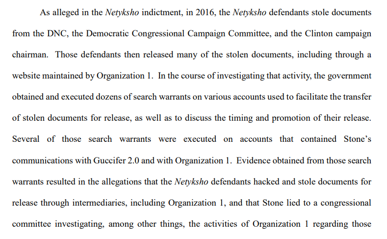 """Mueller's office says in a new court filing that investigators executed search warrants on accounts used to """"facilitate the transfer of stolen documents for release"""" and several included communications with Roger Stone."""