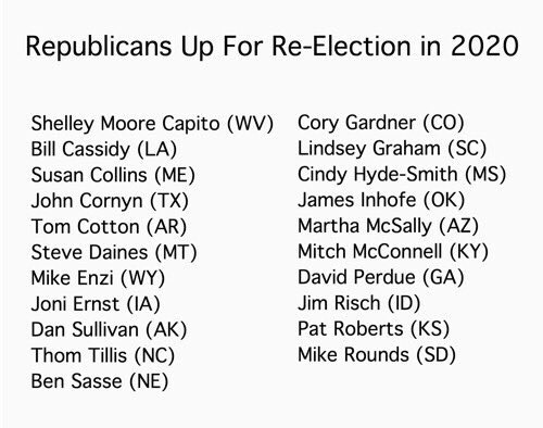 We need to vote out the GOP entirely. Here's the list of them up for re-election in 2020. Get organized, get motivated, get them OUT.