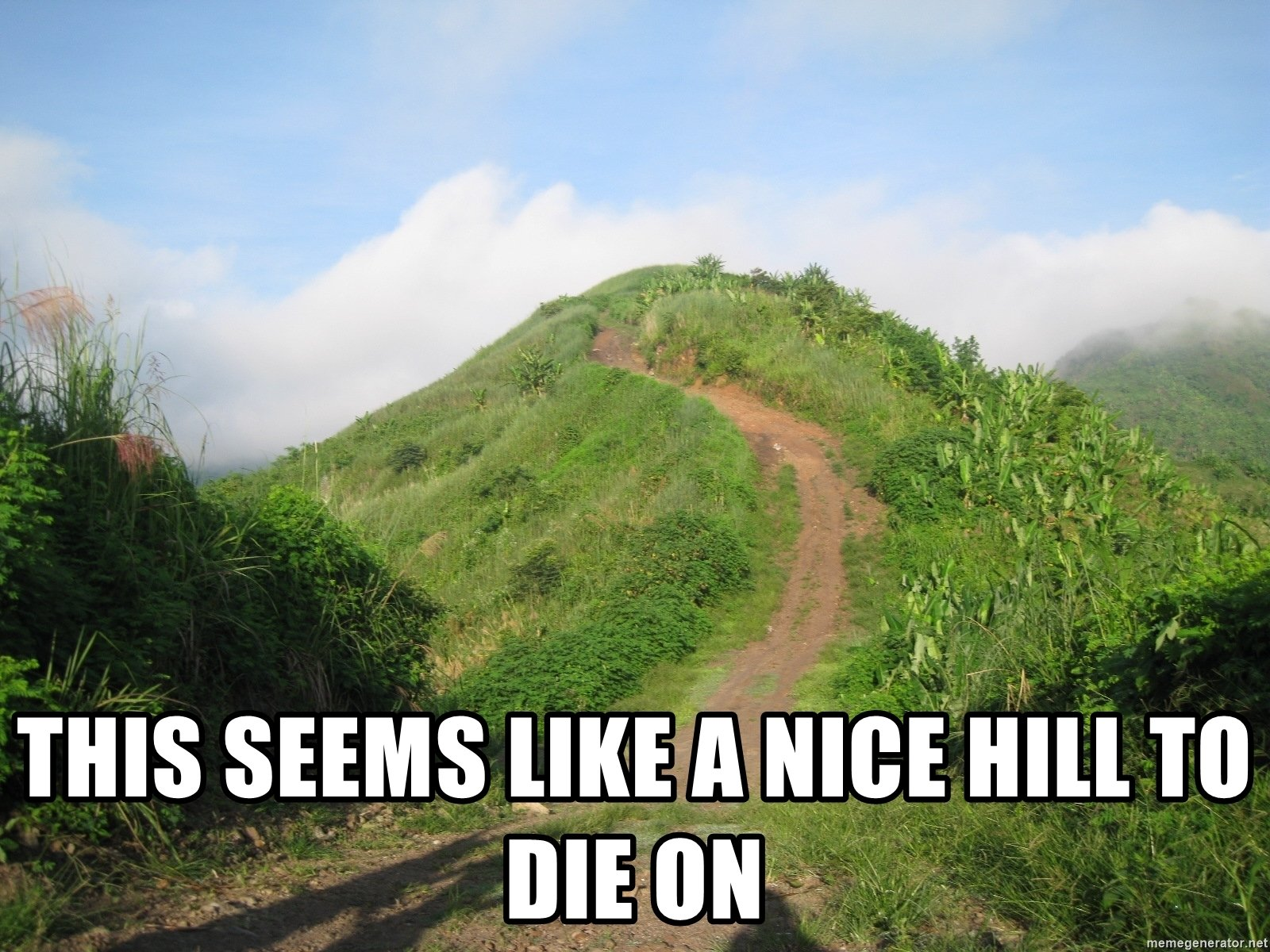 A picture of a pleasant hill with the caption