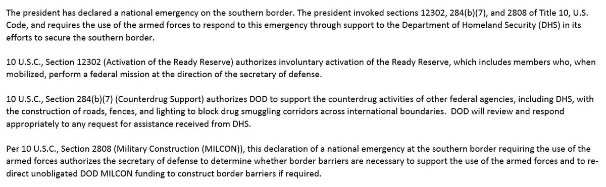 Pentagon releases statement on Trump's national emergency declaration at 4:43 p.m. on a holiday weekend.