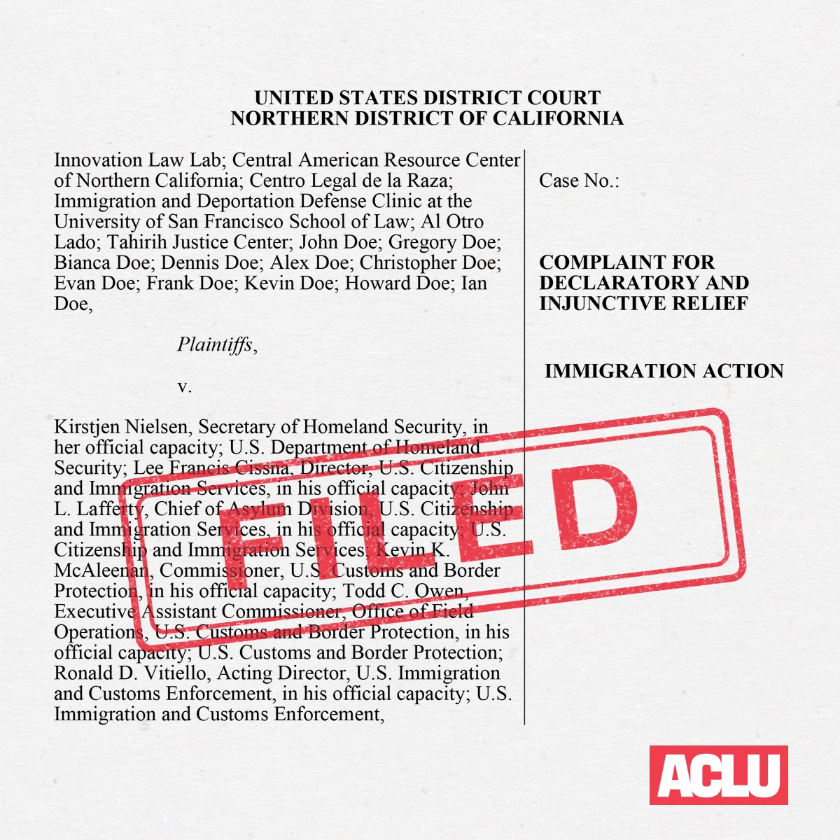 A new Trump administration policy forces asylum seekers out of the United States before their claims are even evaluated. It violates our country's immigration laws and international human rights law.  We're suing to stop it.