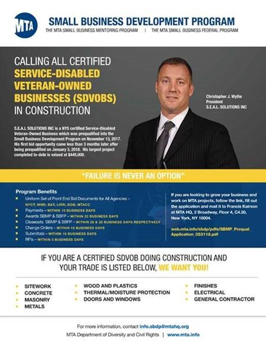 The MTA supports our Veterans. If you are a Service-Disabled Veteran-Owned Business (SDVOB) Construction Contractor, click on the link below to find out how you can grow your business with the MTA. http://web.mta.info/sbdp/
