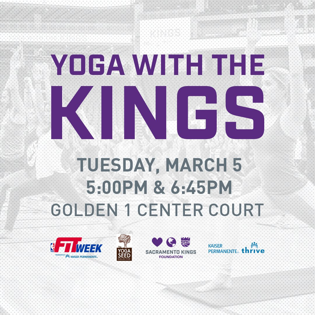Join the @SacramentoKings, @kpgreatersac & @theyogaseed for yoga at @Golden1Center on March 5th to celebrate #NBAFIT Week. First 200 participants per class receive a free yoga mat! Sign up at http://kings.com/yoga 🧘♂️🧘♀️