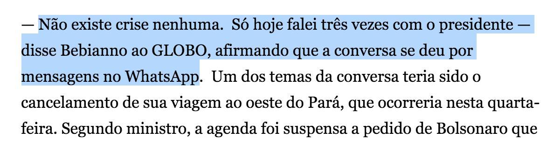 Eis o trecho da matéria do Globo a que Carlos reagiu. Chamou declaração de mentira. Mas nada foi dito de Bebianno ter falado com Bolsonaro sobre denúncias do PSL. Tema era outro. E já veio à tona que conversaram também sobre audiência com Globo. Faz-se muita confusão na internet.