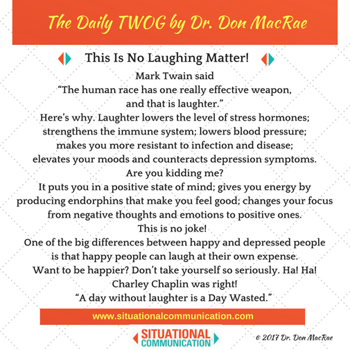 This edition of The Daily TWOG @SituationalComm brought to you by Loveleigh Creations: photoart cards and paintings that give back http://www.aloveleighcreation.ca  - 25% of proceeds support http://bicycles-for-humanity.org/ - the gift of mobility and sport. #motivation #laughter #PositiveVibes