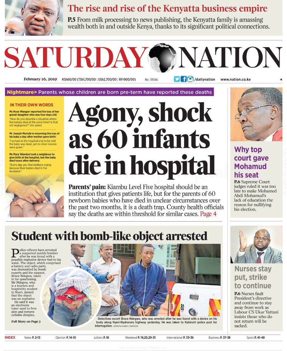 Today's @dailynation   Agony, shock as 60 infants die in hospital