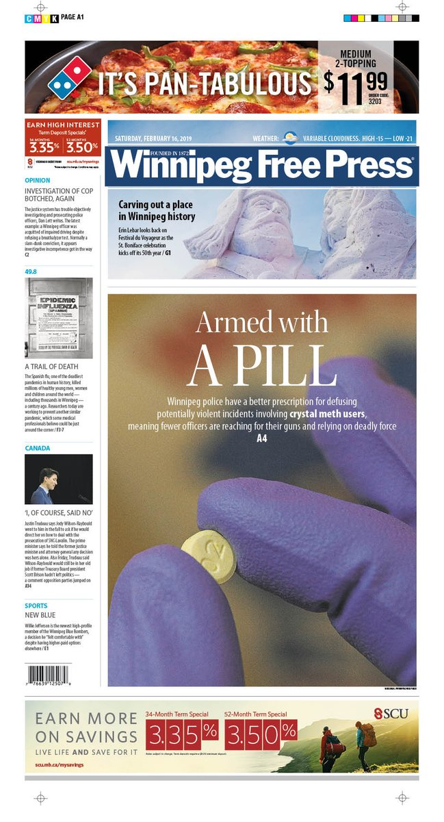 Armed with a pill on the front page of the Saturday's @WinnipegNews #wfp