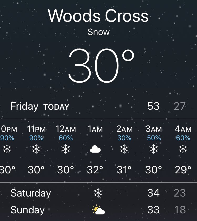 The Weather Channel is apparently (and oddly) quite confident that it will not snow between 1 AM &amp; 2 AM. <br>http://pic.twitter.com/xi0TrMYxWu
