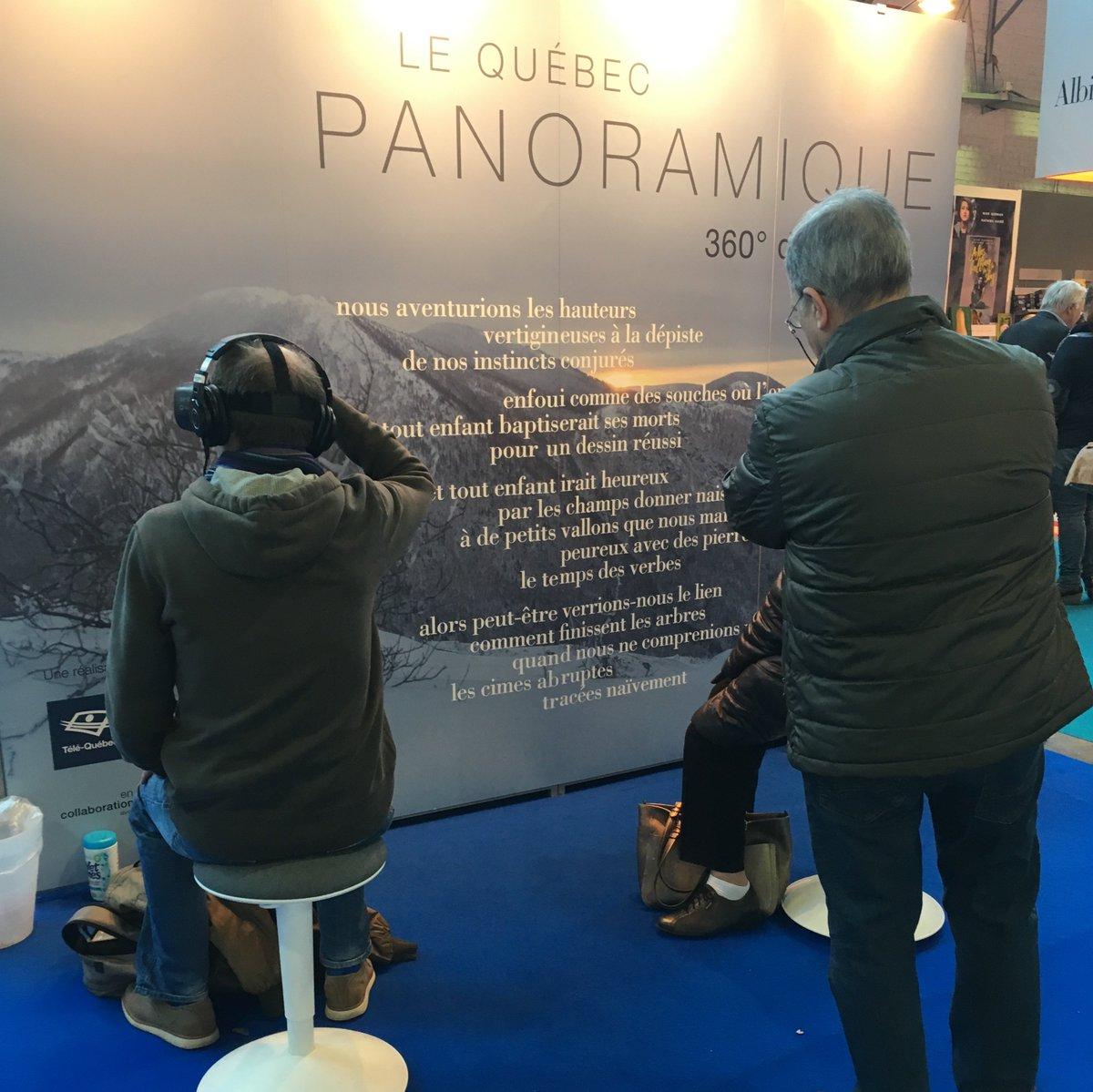 Notre expérience de réalité virtuelle «Panoramique: 360 degrés de poésie» est de passage à #Bruxelles du 14 au 17 février pour la @foirelivrebxl! 😍 @ANEL_QE #poésie #VR #lafab