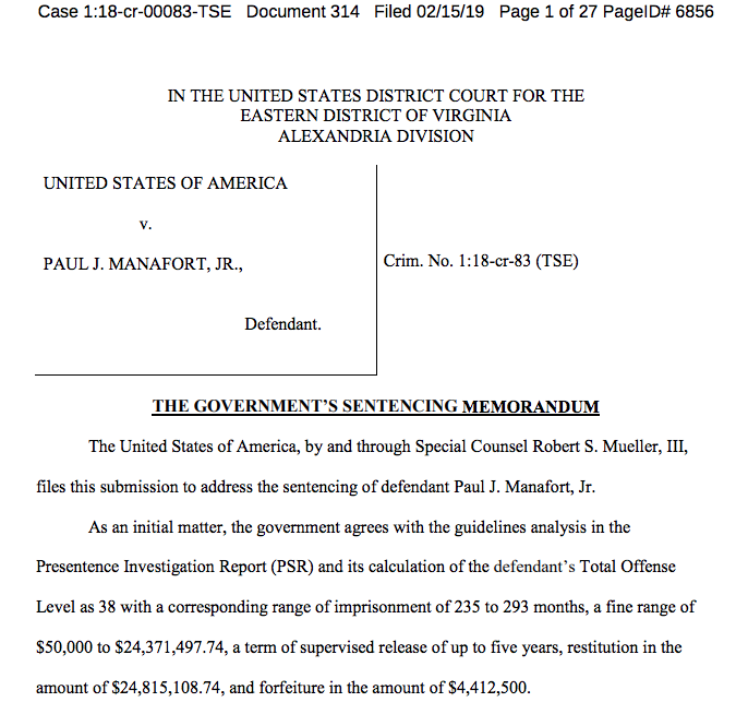 NEW: Mueller's office says Paul Manafort is facing a sentencing range in his Virginia case of 19.5 to 24.4 years in prison — but they aren't taking a position on what exactly he should get https://www.buzzfeednews.com/article/zoetillman/paul-manafort-mueller-prison-memo-virginia …