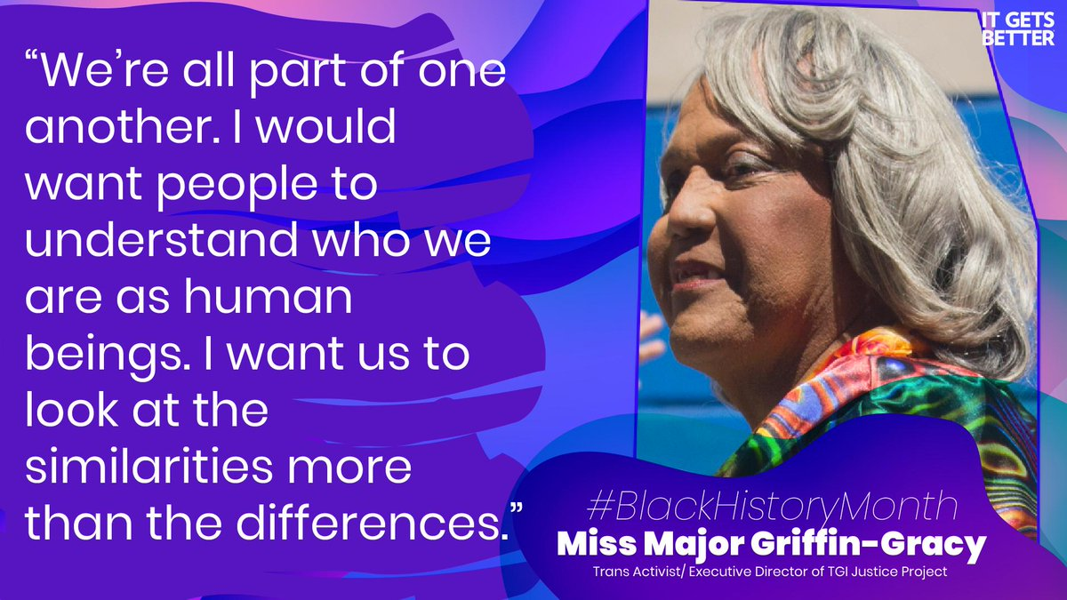 CONNECT: Miss Major Griffin-Gracy was a leader in the Stonewall Riots. She's dedicated her life to assisting trans &amp; intersex youth, serving as the executive director of the TGI Justice Project. Thank you for your contributions, #MissMajor!<br>http://pic.twitter.com/VU2IEL8Ope