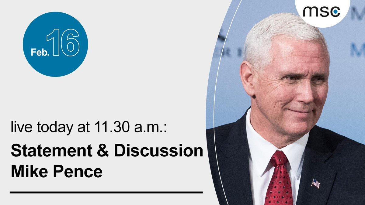 In just a few minutes, U.S. @VP Mike Pence will address the audience in Munich. Follow his remarks and discussion with @MunSecConf Chairman @ischinger #MSC2019 live here: http://securityconference.de/msc-2019/live