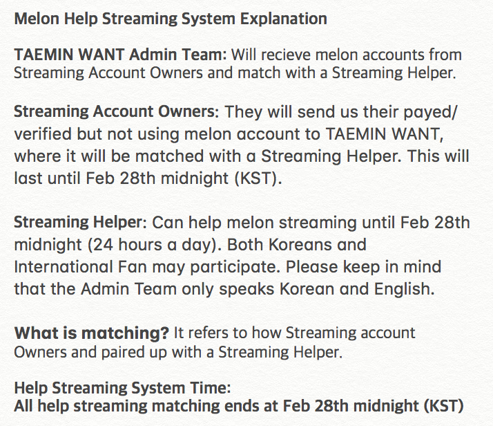TAEMIN WANT is starting the Melon Help Streaming System. All matching system ends on Feb 28th midnight (KST) Please read the following guide carefully and please participate.  Streaming Helper Registeration Forum https:// goo.gl/forms/5ZU94UAV p6vKnQsY2 &nbsp; …   #태민 #TAEMIN #WANT #RT<br>http://pic.twitter.com/jf6wVvRJYE