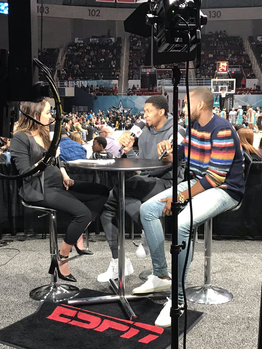 Tune in NOW to the @NBAAllStar Celebrity Game to catch @RealDealBeal23 on set!