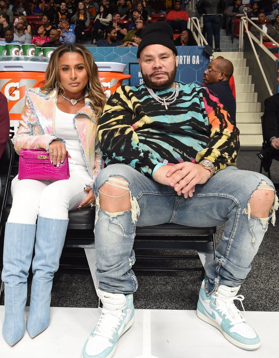 ".@fatjoe checking out the Celeb Game in ""Turbo Green"" Air Jordan 1s. 📸: Juan Ocampo"