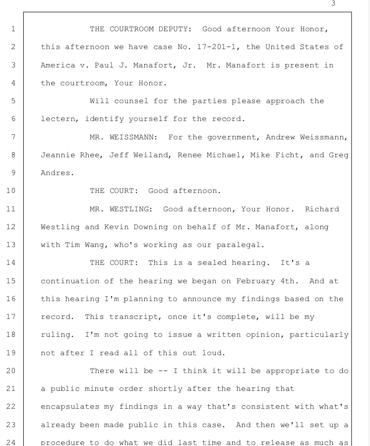 Here's a link to the redacted Manafort transcript from Feb. 13, where Judge Jackson ruled he intentionally lied to federal prosecutors and the grand jury. http://ow.ly/zN1f30nIJoE