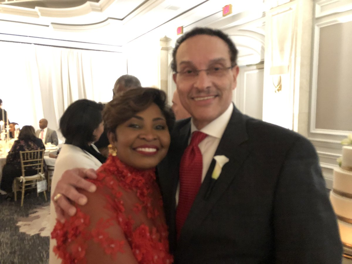 Newlyweds Fmr DC Mayor Vincent Gray and new wife Dawn Kum at their wedding reception tonight. Guests include a Mayor Muriel Bowser.