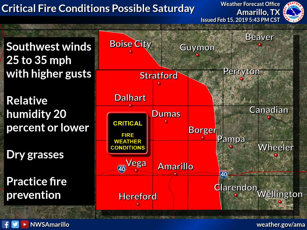 Critical fire weather conditions will be possible across the western Oklahoma Panhandle and the western and central Texas Panhandle. Strong southwest winds will be common along with low RH values and dry grasses across these areas. #phwx #txwx  #okwx