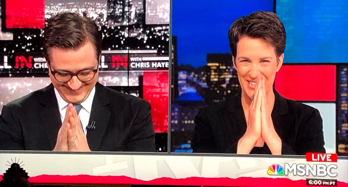 A perfectly choreographed moment between @chrislhayes and @maddow #inners #maddow