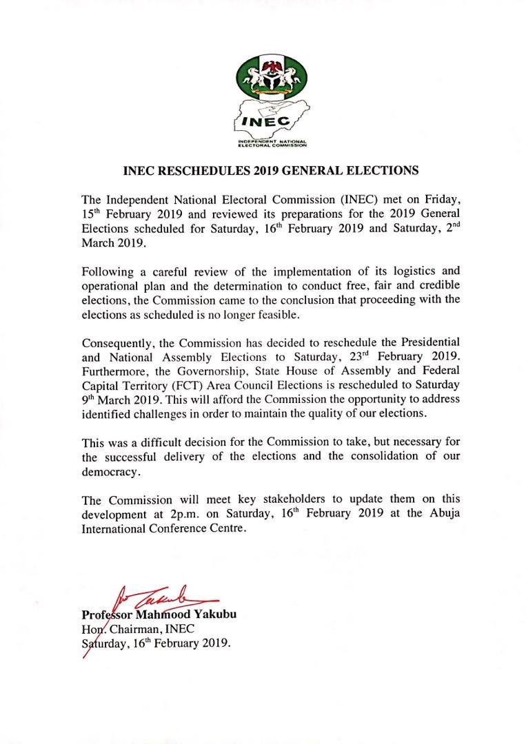 Breaking News: The #NigeriaDecides2019 Elections now to hold on; 23rd February, 2019 for Presidential and National Assembly while the Governorship, State House of Assembly and the FCT Area Council Elections is to hold on 9th March, 2019.