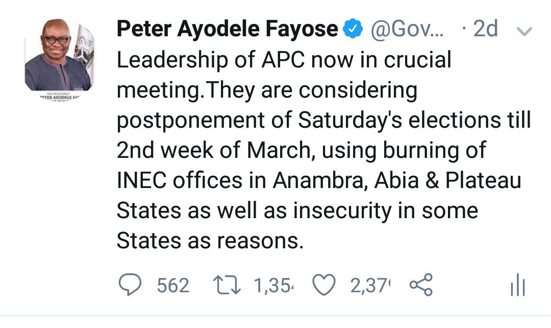 Two days ago, I told Nigerians that the Presidency cabal were considering postponement of the elections because they knew that they can't win. Now I'm vindicated. With this, they have only succeeded in making their situation worse. Nigerians will defeat this tyranny ultimately.