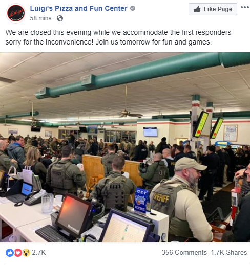 """Bob Lockwood, manager of Luigi's Pizza, said the owners decided to close the pizza parlor down and offer it to first responders as a staging area.   """"The owner's kids came in and helped us make pizza pies and we've donated all the products to first responders and Henry Pratt."""""""