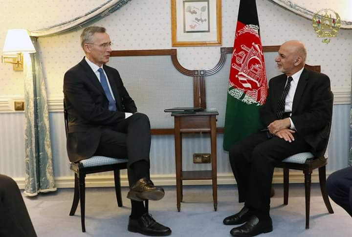 President Ashraf Ghani met NATO Chief Jens Stoltenberg on the sidelines of Munich Security Conference and discussed Afghan-led peace process, fight against terrorism and regional countries' role in this regard, ARG said in a statement.