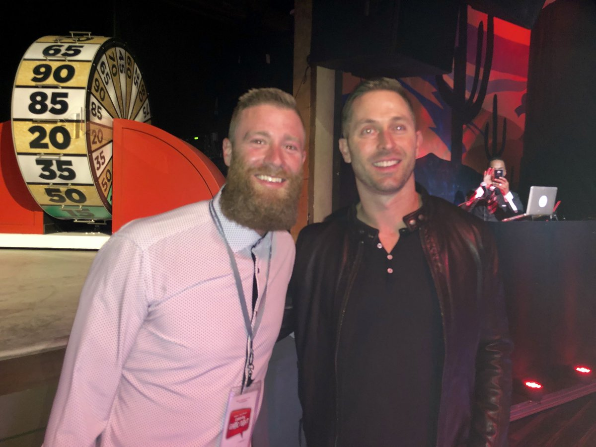 .@AZCardinals head coach Kliff Kingsbury w @Dbacks P Archie Bradley tonight at #CelebrityGameNight to benefit @TreasureHouse  Archie was a star HS QB out of Broken Arrow, OK & was recruited by Kingsbury when he was HC at Texas Tech. But this particular QB chose MLB over football