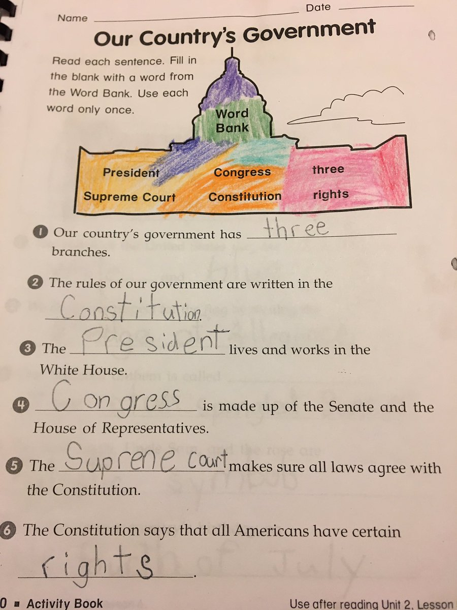 Well, look at that. Proof my second grader knows more about the Federal government than our POTUS. He needs to read up on...all of them. #3 says works in the White House, he especially needs to read that one.