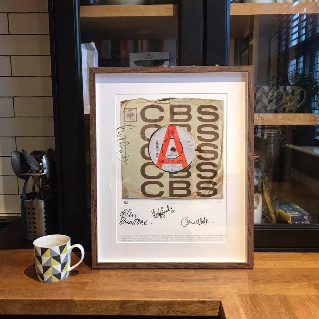 First of the newly framed Ltd Ed. Paper Prints out. And this one is for me. Time Of The Season signed by Colin Blunstone, Rod Argent, Hugh Grundy and Chris White AKA @TheZombiesMusic http://www.supersizeart.com