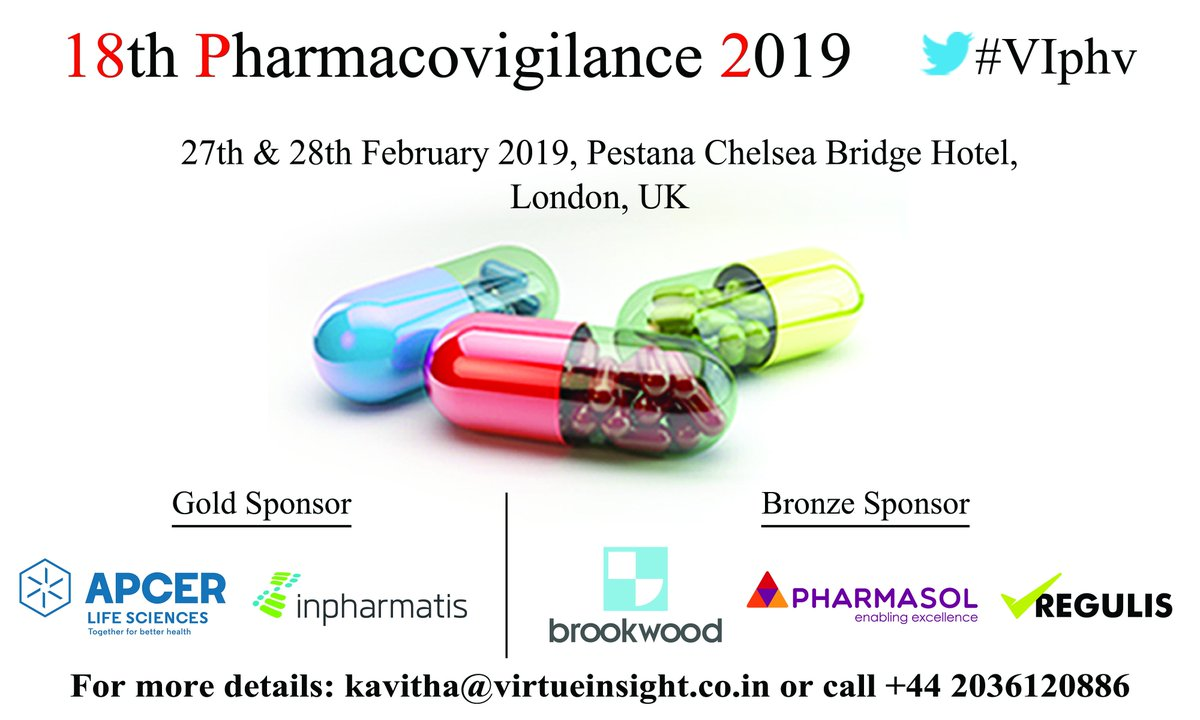 #VIphv  We are delighted to announce our new BRONZE SPONSOR REGULIS  for our 18th Pharmacovigilance 2019 https://bit.ly/2PeVtLP #drugsafety #riskmanagement #Pharmacogenomics #PatientSafety #regulatoryaffairs