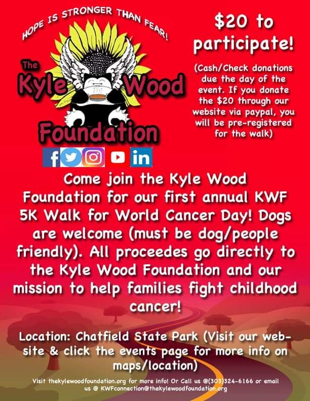 Due to inclement weather this weekend, we are changing the date of our first annual KWF 5K Walk for #WorldCancerDay  to next Sunday, February 24th. We hope you all can still make it! Be sure to check out our events page and social media platforms to stay in the loop! #cancersucks <br>http://pic.twitter.com/nbEcoYwABP