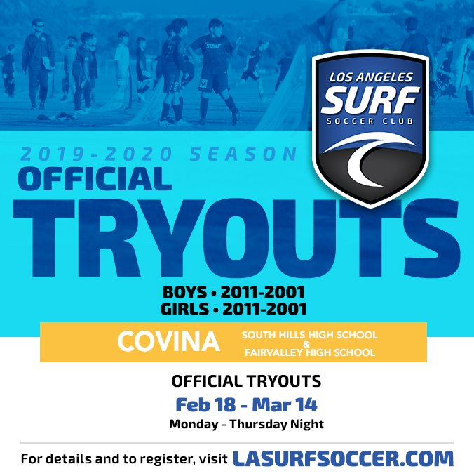 LA SURF   TRYOUTS COVINA  We will continue tryouts for ALL age groups in Covina on Monday, February 18. Visit our website for all times and locations. http://lasurfsoccer.com/tryouts to register.  #Lasurf #tryouts #lasurfsoccer #covina #westcovina @SGVSurfSC