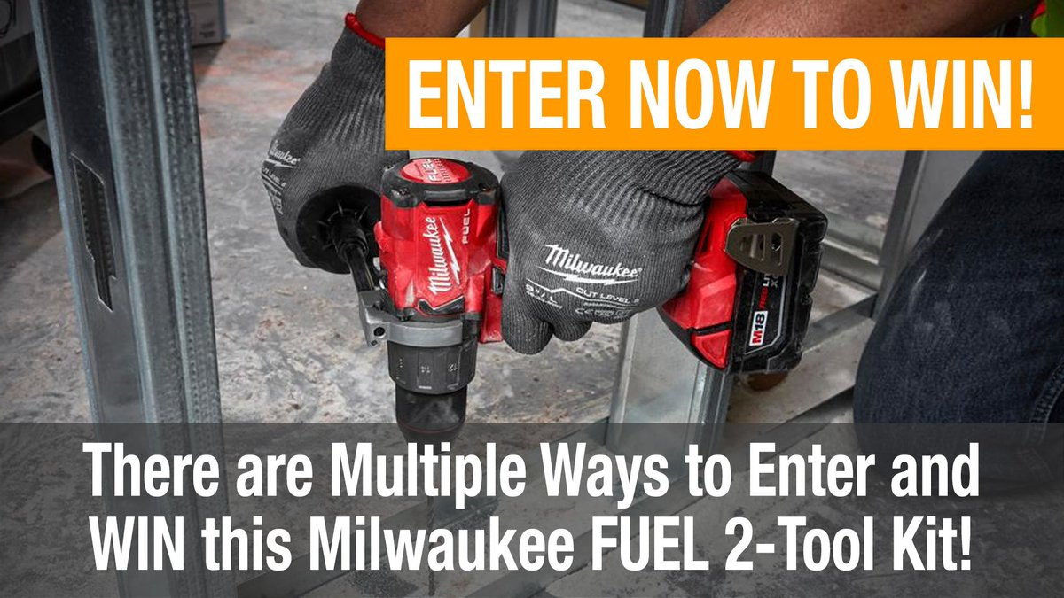 Enter to #win a @MilwaukeeTool FUEL 2-tool combo kit #giveaway at http://bit.ly/ptrgiveaway   Visit the link to earn extra entries!  #tools #toolsofthetrade #construction #carpentry #carpenter #powertools #contractor