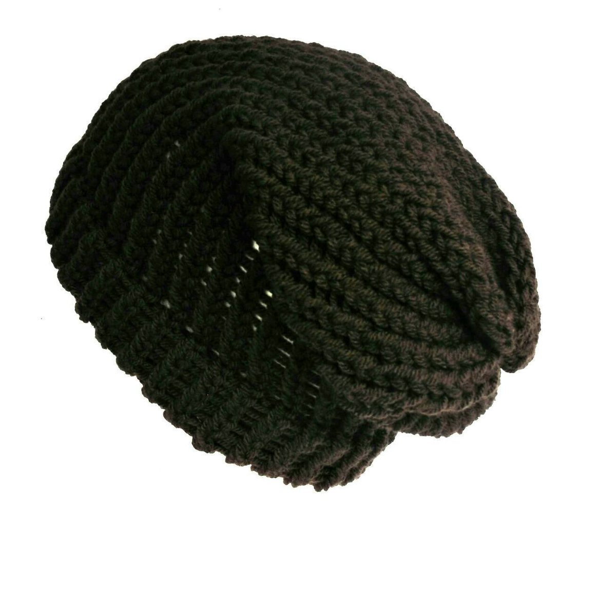 f1dbba79 Dark brown slouchy beanie, loose knit slouch hat handmade with soft acrylic  wool, unisex winter beanie hat or dreadlock tam https://etsy.me/2NOgOHl ...