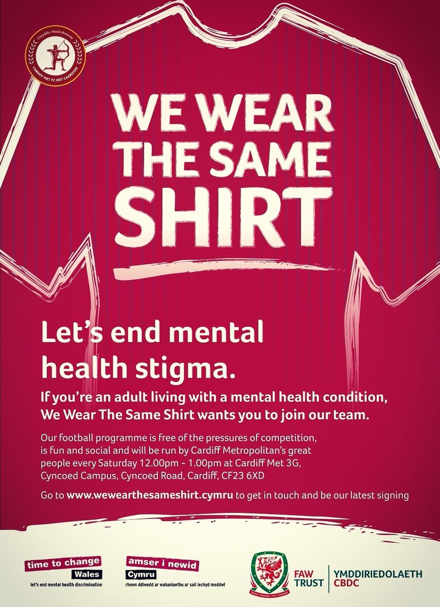 Also looking forward to being at our We Wear the Same Shirt session before @CardiffMetFC take on @LlandudnoFC  Please feel free to come along later for a social kickabout & a chat ⚽  📍Cyncoed Campus 3G 📅 Every Saturday ⏰ 12 - 1pm  #MoreThanAGame #HealthyMindHealthyLife #WWTSS