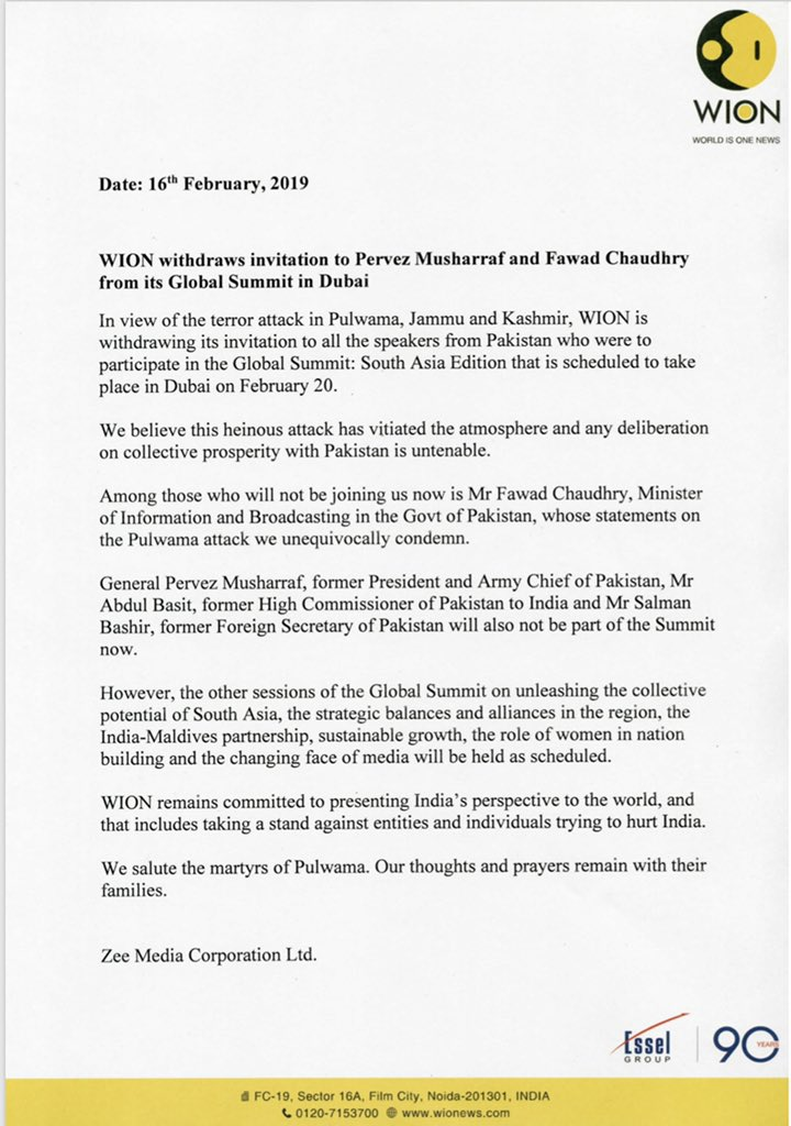 Tough times call for tough measures. As India mourns the martyrs of Pulwama, @WIONews has withdrawn its invite to the Pakistani speakers from its Global Summit to be held in Dubai on Feb 20.Pak I&B Min Fawad Chaudhary & Former Prez Gen Pervez Musharraf were among the participants