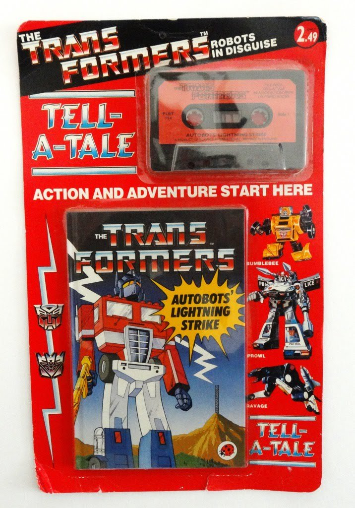 Tell-A-Tale, Cassette and Hardcover Books, Tapes recorded by Pickwick International, books and packaging by Ladybird UK, Initial four sets pictured. #g1transformers #ladybird #transformers
