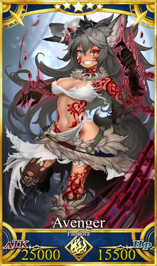 &quot;I&#39;m Pandora! Everyone calls me a monster so I&#39;m the strongest monster out there! I&#39;m Wrath! I&#39;ll curse the whole world!&quot;  Race: Devil  Alignment: Chaotic Neutral  Strength: A Mana: A+ Agility: C++ Endurance: B Luck: E NP&#39;s: A-EX  NP Names: Curse of Death, Wraths Curse (Con below <br>http://pic.twitter.com/oC03hYz59o