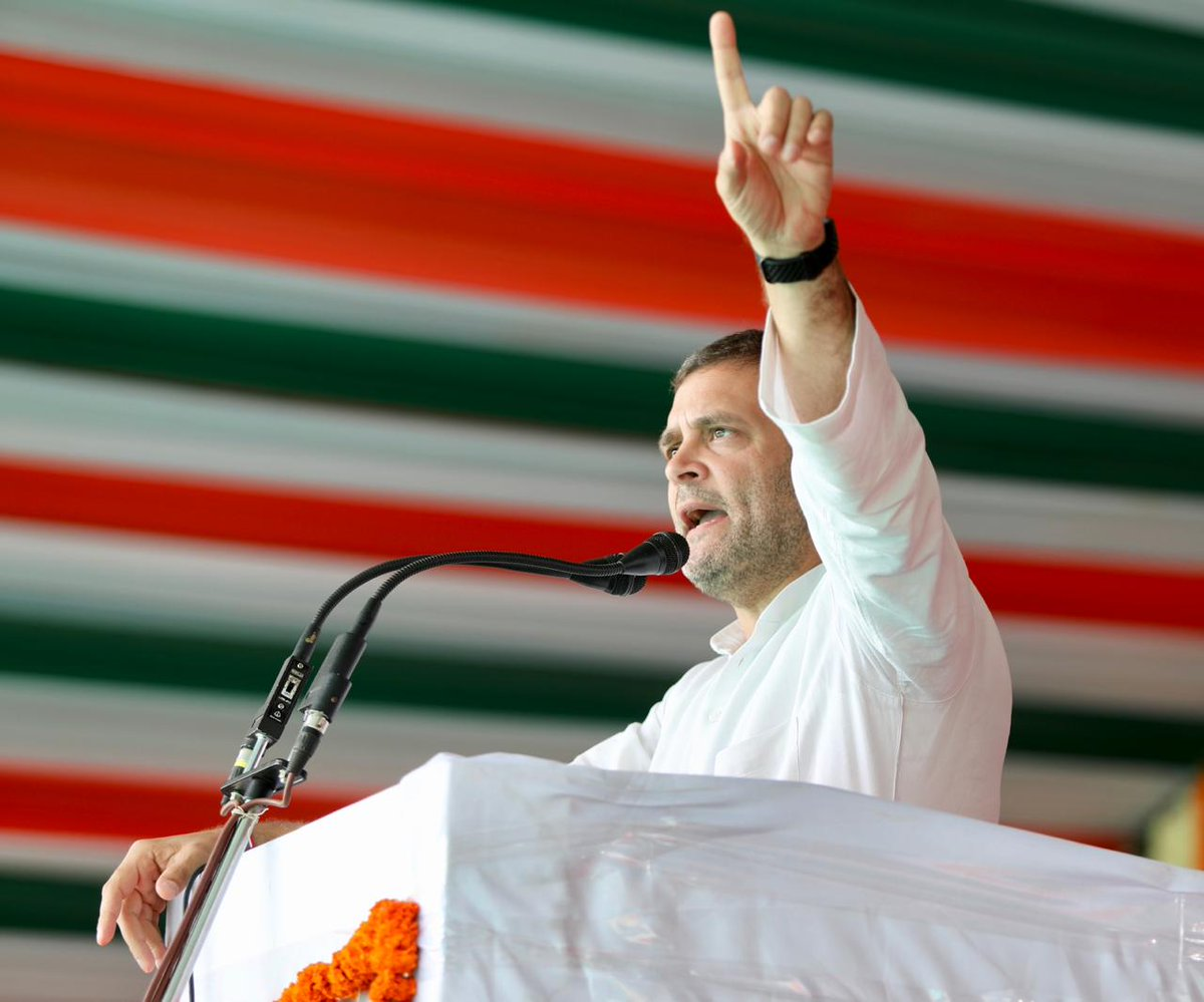 Farmers pay insurance premiums but do not receive insurance when their crops are damaged. This money goes straight to the pocket of people like Anil Ambani: Congress President @OfficeOfRG     #CongressForTribalRights