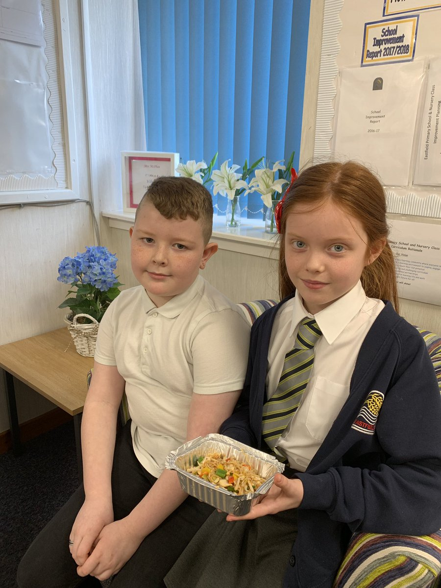 Mrs McPhee had a fabulous visit and some gorgeous chow mein from these two fabulous P4's! Thank you! #littlechefs #cookingkitchen #successfullearners #confidentlearners #skillsforlearninglifeandworkpic.twitter.com/OEuaI5nfvH